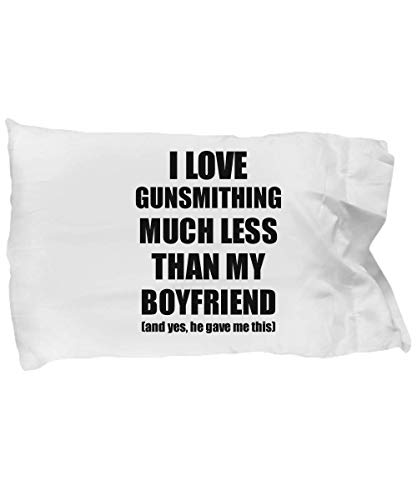 EzGift Gunsmithing Girlfriend Pillowcase Funny Valentine Gift Idea for My Gf from Boyfriend I Love Pillow Cover Case Set Standard Size 20x30