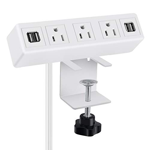 3 AC Outlet Desk Clamp Power Strip, Desk Mount USB Charging Power Station, Removable Desktop Edge Power Center Plugs Output 125V/60HZ/12A/1500W, USB 5V/4A 6.56FT Cable