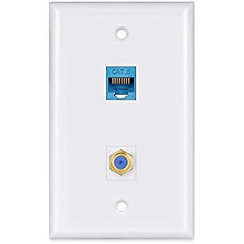 ethernet coax wall plate 2port,phizli 1 cat6 ethernet port and 1  gold-plated cable tv coax f type port wall plate (white)