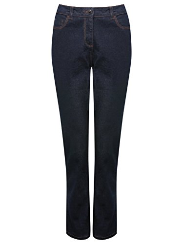 M&Co Ladies Cotton Stretch Mid Rise Classic Five Pocket Straight Leg Mid Wash Indigo Denim Jeans Indigo