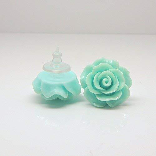 Large Aqua Rose Earrings on Plastic Posts for Metal Sensitive Ears