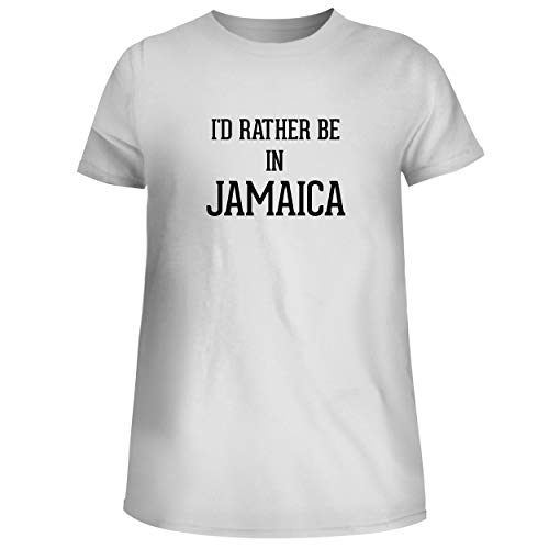 I'd Rather Be in Jamaica - Cute Women's Junior Graphic Tee, White, Small