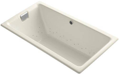 "UPC 650531953988, Kohler K-856-GBN-47 Tea-For-Two Bubblemassage 5.5"" Bath with Vibrant Brushed Nickel Airjet Finish, Almond"