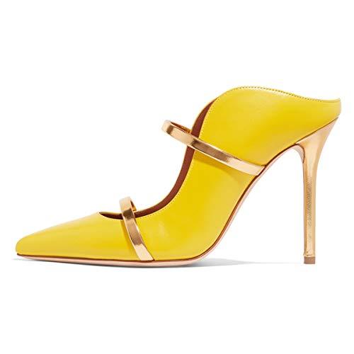 FSJ Women Fashion Pointy Toe Pumps High Heels Mule Sandals Double Straps Slide Shoes Size 8.5 Yellow-12 cm