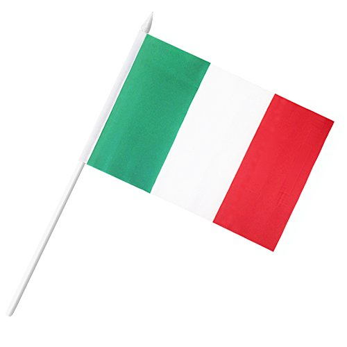 Anley Italy Stick Flag, Italian 5x8 inch HandHeld Mini Flag With 12