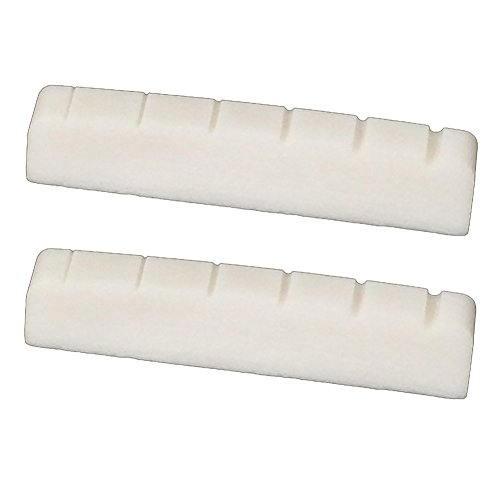 Greenten 2 Pcs 6 String Electric Bone Nut Cattle Bone Slotted Replacement (43 X 6, Unbleached)