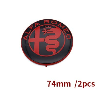 Tamiko - 2pcs Free shipping Specials sale Black white Color 74mm 7.4cm ALFA ROMEO Car Logo emblem Badge sticker for Mito 147 156 159 166 - (Color Name: Red)