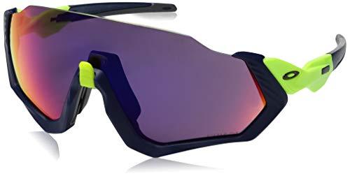 Oakley Men's OO9401 Flight Jacket Shield Sunglasses, Matte Navy/Prizm Road, 37 mm