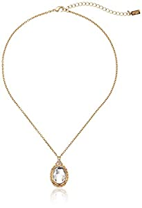 1928 Jewelry Oval Adjustable Pendant Necklace, 16""