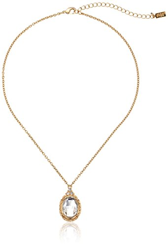 1928 Jewelry Gold-Tone Crystal Oval Adjustable Pendant Necklace, (Gold Tone Oval Necklace)