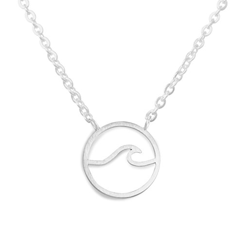 - Altitude Boutique Simple Ocean Wave Necklace Surfing Sea Surfer Hawaii Circle Beach Jewelry (Gold, Silver) (Silver)