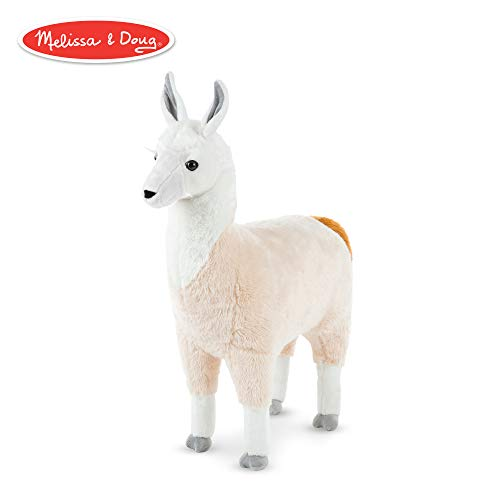 Melissa & Doug Standing Lifelike Plush Llama Stuffed Animal Plush, 31 x 30 x 9.5 -