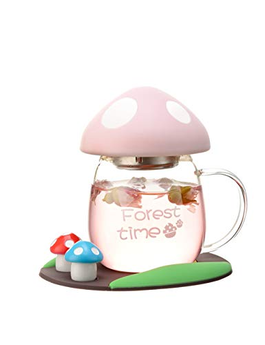 BZY1 Tea Mug Glass Cup With Strainer & Lid Portable Teacup Heat Resistant Mushroom Cup Design Cute and Practical Kids Cup Girly Gift 280ML PINK