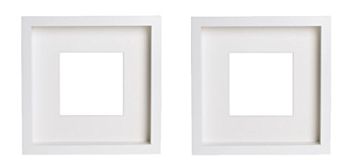 Picture Frame - Matted to Fit Pictures 5x5 Inches or 9x9 Inches Without Mat - White Mat with Front Protection - Set of 2 Frames ()