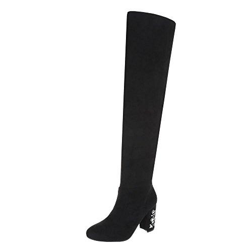 Ital-Design Overknees Damenschuhe Overknees Pump High Heels Reißverschluss Stiefel Schwarz