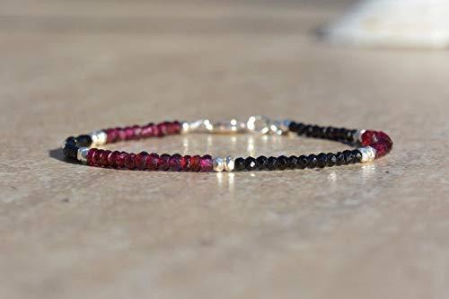 Garnet Gemstone Bracelet, Spinel Gemstones, Hill Tribe Silver Bracelet, Vegan Bracelet, January Birthstone, Skinny Stacking Bracelet, Gift by - Garnet Jewelry Hill