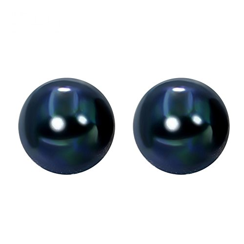 Sterling Silver 8mm Dyed Dark-blue Freshwater Pearl Studs (Dark Pearl)