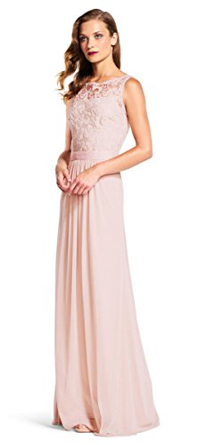 Adrianna Papell Sequin Mesh Stretch Tulle Gown Lace Bodice, Blush, 8 Stretch Bodice