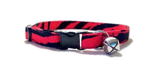Red Tiger Stripe Cat or Kitten Collar Adjustable Black zebra animal print Fabric with bell and Break Away Buckle Large Quick Release (M- Average Cat)