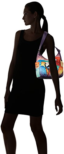 Hand Side Anuschka Royalty Women's with Classic Rainforest Hobo Painted Pockets YOY5qfrw
