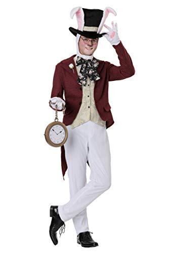 Men's White Rabbit Costume Large (Alice In Wonderland White Rabbit Costume Adult)