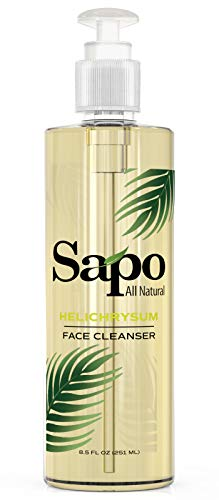 Sapo All Natural Helichrysum Face Cleanser. For Severe Acne, Pimples and Very Oily Skin. Deep Cleansing and Exfoliating Facial Cleanser. Removes Blackheads and Body Acne. Maximum Strength - 8.5 oz (Best Face Wash For Very Oily Skin)