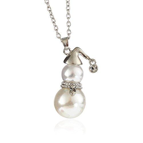 METTU Creative Snowman Pendant Sweater Chain Long Necklace (Silver)