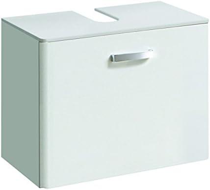 lifestyle4living Waschbeckenschrank in Weiß, Hochglanz   Badezimmerschrank mit 1 Auszug