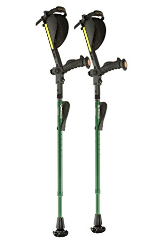 Mobility Crutch (Ergobaum® 7TH Generation Prime By Ergoactives. 1 Pair (2 Units) of Ergonomic Forearm Crutches - Adult 5' - 6'6'' Adjustable (Green))