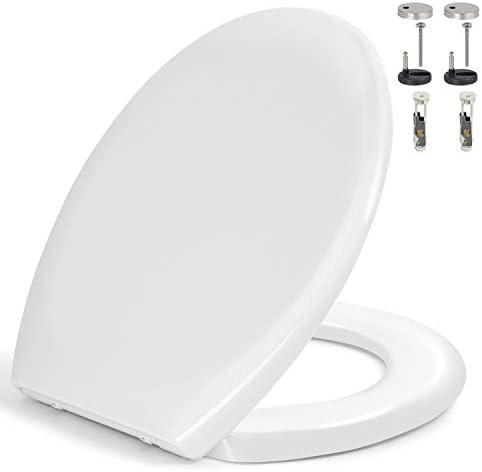 Toilettendeckel, WC Sitz mit Absenkautomatik, Quick-Release Funktion für leichte Reinigung, Antibakteriell Klodeckel aus Harnstoff-Formaldehydharze, O Form Weiß Toilettensitz mit Edelstahl Befestigung