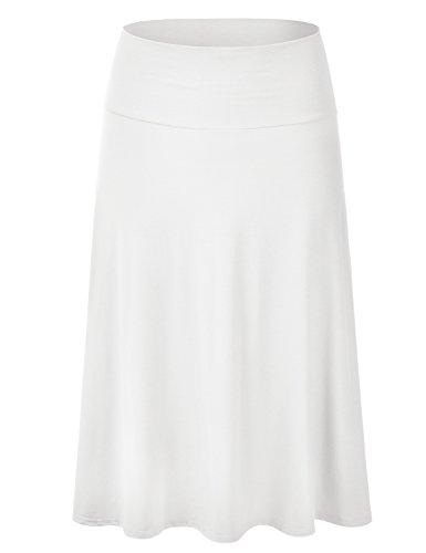 EIMIN Women's Solid Flared Lightweight Elastic Waist Classic Midi Skirt Ivory (Lightweight Spandex Skirt)