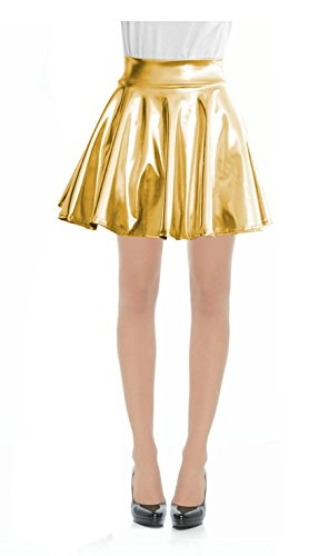 Women Metallic Faux Leather Full Circle Skater Skirt-S-MetallicGold -