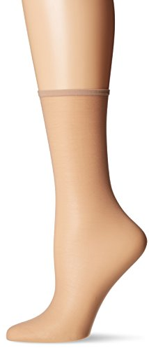 HUE Women's Sheer Ankle Sock 3 Pack, Natural, One Size