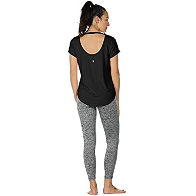 icyzone Yoga Shirts for Women Open Back - Workout Tops Short Sleeves t Shirts Loose fit at  Women's Clothing store