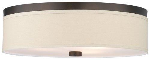 Forecast Lighting F1319-20 Embarcadero Three-Light Flushmount with Vanilla Fabric Shades and Etched White Glass, Sorrel Bronze by Forecast - Fabric Bronze Vanilla Sorrel