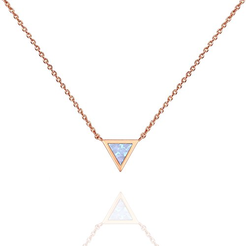 PAVOI 14K Rose Gold Plated Triangle Bezel Set White Opal Necklace 16-18