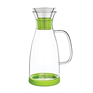 Tealyra - Glass Carafe - 40-ounce - Drip-free - Borosilicate Water Pitcher Jug Infuser - Hot and Iced Tea Juice Beverage - Decanting and Serving Wine - Lime Base and Lid - 1200ml