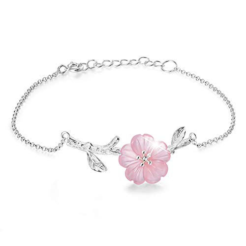 - Lotus Fun S925 Sterling Silver Bracelet Crystal Flower in The Rain Adjustable Bracelets with Chain Length 6.5''-8.66'', Handmade Unique Jewelry for Women and Girls (Pink)