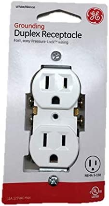 GE Grounding Duplex Receptacle Outlet with Fast Easy Pressure-Lock Wiring 20 Pack 54309 15A 125VAC UL Listed