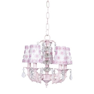 Petal Flower Sconce Shade - Jubilee Collection 7036-6121 5 Arm Stacked Glass Ball Pink Chandelier with White and Pink Petal Flower Sconce Shade