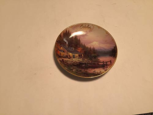 BRADFORD EXCHANG October END of A Perfect Day Thomas Kinkade Collector Plate Small 5 1/2 INCHES