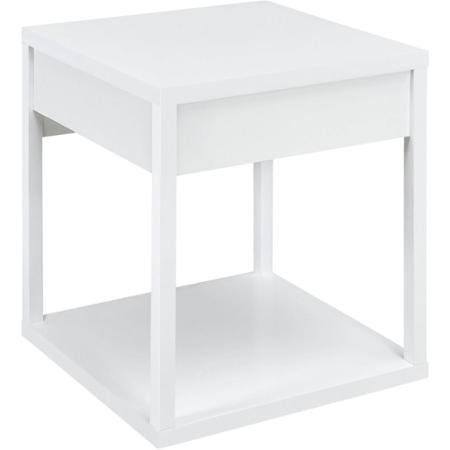 Mainstays Parsons End Table with Drawer, Lower Shelf for Extra Storage, Color: White