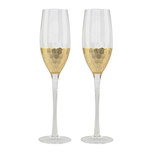 Black Stem Flutes (Top Shelf Decorative Hammered Gold Champagne Glasses, Bride and Groom Champagne Flutes, Thoughtful Gift Idea for Weddings, Birthdays, Christmas, or Any Occasion, Set of 2)