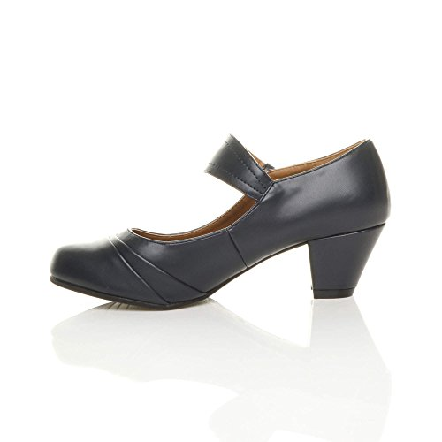 mujer para Ajvani Zapatos Navy Matte vestir de wqwA0R7I