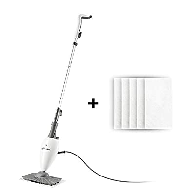 Steam Mop Floor Steamer For Cleaning With Swiveling Steamer Mop Head For Tile,Grout,Laminate,Hardwood,Carpet steamer,Professional 5 in 1 Steam Mops Steamer Cleaner With 5pcs Washable Pads