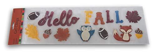 Autumn Themed Gel Cling Set - Hello Fall and Woodland Creatures - 17 Piece