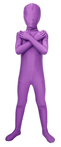 Sheface Kids Spandex Full Bodysuit Fancy Dress Costume (Large, Light Purple)