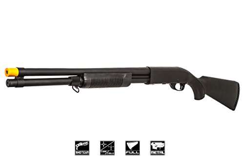 (Classic Army Airsoft GI Black Tactical CA870 Spring Shotgun Airsoft Gun – Single-Shot Shotgun Uses Adjustable FPS Design)
