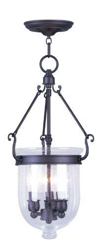 Livex Lighting 5083-07 Jefferson 3 Light Bronze Bell Jar Chain Hung with Seeded Glass by Livex Lighting