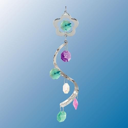 Flower Swirl ... Hanging Sun Catcher or Ornament..... With Ass'ted Color Swarovski Austrian Crystals by Crystal Delight by Mascot